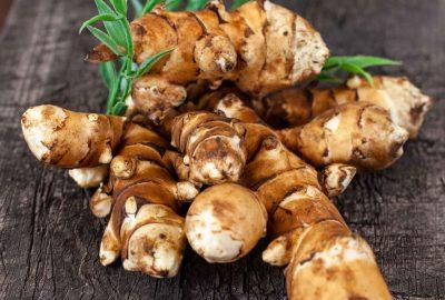 jerusalem artichoke on brown background. Topinambur isolat
